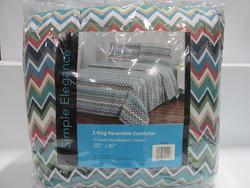 Simple Elegance Reversible Comforter - Chevron Print -  Size: King
