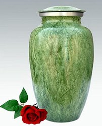 Funeral Urn by Liliane - Cremation Urn for Human Ashes - Hand Made in Aluminum with Delicate Enamel Design - Display Burial Urn at Home or in Niche at Columbarium. - Fits cremated remains of adults. - Marble Bamboo Model