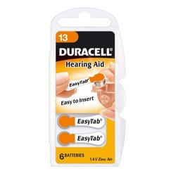 Duracell Hearing Aid Battery 6 Pack - Orange - Size: 13 (Da13N6)