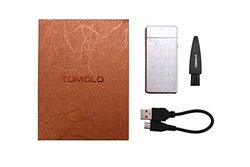 Tomolo Double Electronic Arc Lighter Windproof Flameless Design USB Rechargeable Cigarette Lighter with USB Charging Cable,Clean Brush and Gift Box