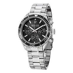 So & Co New York Men's Watch: Gp15221 - Silver Band/Black Dial