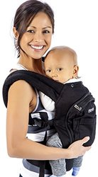 Mo+m Classic Cotton 3 Position Baby Carrier (Black) - Soft Structured, Ergonomic Sling w/ Mesh Cooling Vent, Hood & Pockets - Great Gift for New Moms