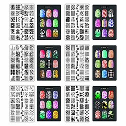 Cici&sisi Nail Art Stamping Plates Set Jumbo 1- Set Of 6 Jumbo Nail Polish Stamping Manicure Kit All New Designs With Free Stamper & Scraper Tools Set