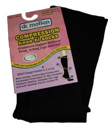 Compression Knee High Socks for Women Dr. Motion in Black Size 9 - 11