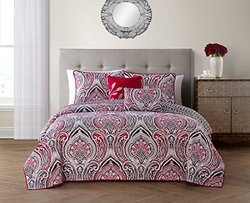 Geneva Home Adelle Reversible 5-Piece Quilt Set - Red - Size: King