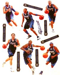 "Dallas Mavericks Mini FATHEAD Team Set of 10 NBA Vinyl Wall Graphics 7-8"" INCH"