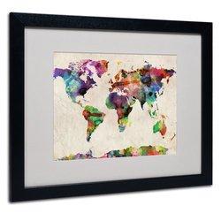 """Michael Tompsett 16"""" x 20"""" Urban Watercolor World Map (MT0013-B1620MF)"""