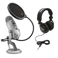 Blue Microphones ABLMYETISGK1 Yeti USB Microphone with Headphones and Pop Filter, Space Grey Monotone