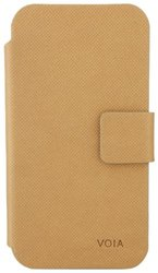 VOIA IP-301LBN Premium Wallet Type Case for Apple iPhone 4/4S-Light Brown