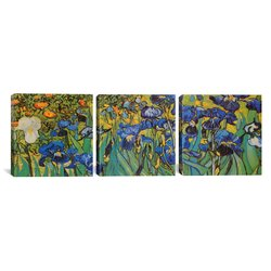 "iCanvasART 3-Piece Irises By Vincent Van Gogh Canvas Print - Size: 48""x16"""