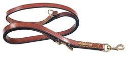 "Petego La Cinopelca Leather Double Training Dog Leash - Brown - 1"" x 71"""