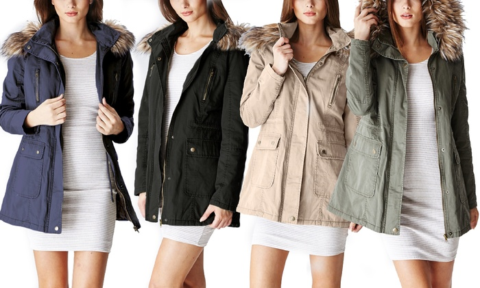 df32c2f9782 Glamsia Women's Cotton Parka Jacket With Fur Lined Hood - Olive ...