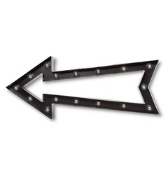Threshold Large Metal Marquee Outline Arrow - Ebony/Brass