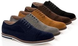 Franco Vanucci Dexter-1 Men's Casual Suede Oxford Shoes: Navy/8