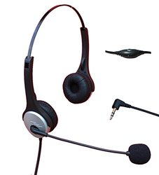 Voistek Call Center Telephone Headphone with Noise Canceling Microphone + Volume Mute Controls for Cisco Linksys SPA Polycom Grandstream Panasonic Zultys & Gigaset Office IP & Many Cordless Dect Phones with Standard 2.5mm Headset Jack (Binaural A2