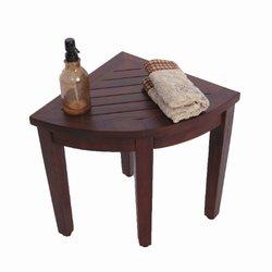 "Decoteak 15.5"" Oasis Teak Corner Shower Bench with Adjustable Foot Pads"
