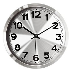 """Hippih 12""""Silent Non-ticking Wall Clock- Metal Frame Glass Cover,501-A"""