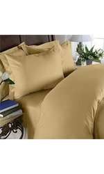 HC Collection Hotel Luxury 4 Pc Bed Sheets Set - Camel - Size: Queen