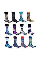 Alberto Cardinali Men's Striped Dress Socks 12Pk - Multi - Size: 10-13