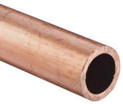 """Copper Hard Drawn Round Tubing ASTM B75 1.5"""" OD 1.37"""" ID 0.065"""" Wall 48"""" L"""