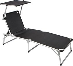 Simply Sports Adjustable Beach and Patio Lounge Chair with Sun Shade, Black