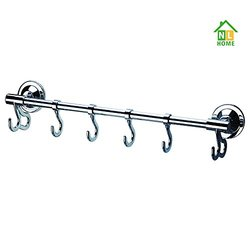 Portable Suction-Cup Multi-Purpose Rack/Rail with 6 Hooks (4 Adjustable Sliding Hooks) for Living Room, Bathroom, Bed Room,16 Inch, Chrome, by NL HOME
