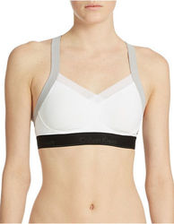 Calvin Klein Colorblock Convertible Sports Bra - White - Size: Medium