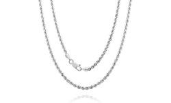 "14k White Gold Diamond Cut Unisex Rope Chain: 18"""