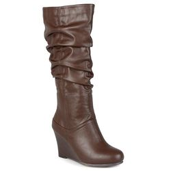 Journee Women's Slouch Knee-High Dress Boots - Brown - Size: 8