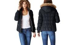 Women's Juniors Puffer Jacket with Fur Lined Hood - Black - Size: Medium
