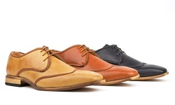 Royal Men's Brogue Wing-tip Shoes: Black-10.5