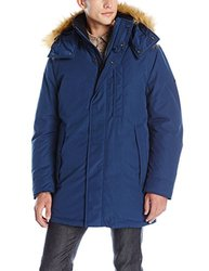 MNY Men's Niagra Down Parka with Removable Faux Fur Hood - Navy - Size: M