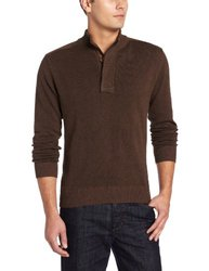 Alex Cannon Men's Covered Placket Plaited Mock Neck, Coffee Heather, Large