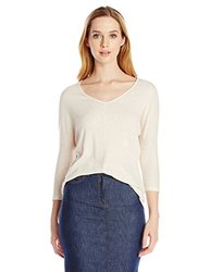 Three Dot Women's Vneck East Fit Top - Oat - Size: Large