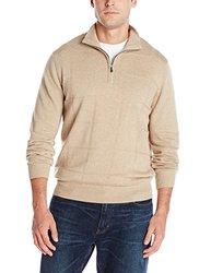 Van Heusen Windowpane 1/4-Zip Sweater - Men Aluminum Heather