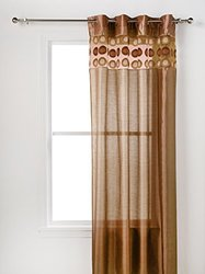 Sally Textiles Faux Silk Panel with 8 Grommets, Gold