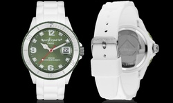 Luxury Crystal Silicon Watch 8 Crystals from Swarovski - White/Green