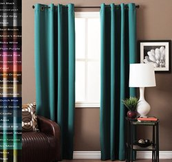 "Turquoize Pair(2 Panels) Solid Blackout Drapes, Horizon Blue, Themal Insulated, Grommet/Eyelet Top, Nursery & Infant Care Curtains Each Panel 52"" W x 84"" L inch"