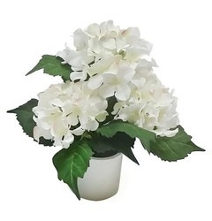 "Battery Operated LED Lighted Hydrangea Arrangement 12"" - White"