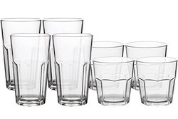 YINGYANG 8Pack Unbreakable Whiskey Rocks Glasses, 100% Clear Tritan Old Fashioned Glasses, Stackable Reusable, BPA Free, Dishwasher-Safe, 4 Pcs 9 oz Rocks and 4 Pcs 12 oz Tumblers