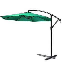 Flexzion Patio Offset Umbrella 10' feet - Green (HAG_UMBL_10FT_GRN)