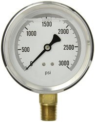 "S201L-402P 4"" Dial Glycerin Filled Industrial Bottom Mount Pressure Gauge"