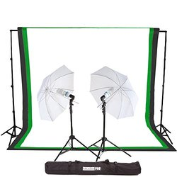 StudioPRO 450 Watt Photography Light Photo & Video Studio Umbrella Continuous Lighting Kit, 6FT. x 9FT. Black, White & Green Chroma key Photo Backdrops Includes Background Support Kit