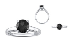 Brilliant 1.00 CTTW Black Diamond Ring in Sterling Silver - Size: 8