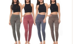 Coco Limon Ladies Long Fleece Leggings (4 Pack): Charcoal-red-blue-brown/xl