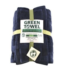 Enova 3-Piece Eco-Green Bath Towel Set - Blue