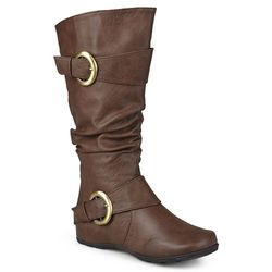 Journee Women's Extra Wide Calf Slouch Riding Boots - Brown - Size: 11