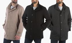 London Fog Wool Blend Car-coat    L10335m    Charcoal    L