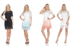 Aria Lace Dress: Teal-white/small