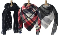 Azuri Oversized Plaid Check Striped Blanket Scarf Wraps: Plaid/Black